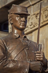 Close-Up View of Soldier Statue at Soliders and Sailors' Memorial Hall