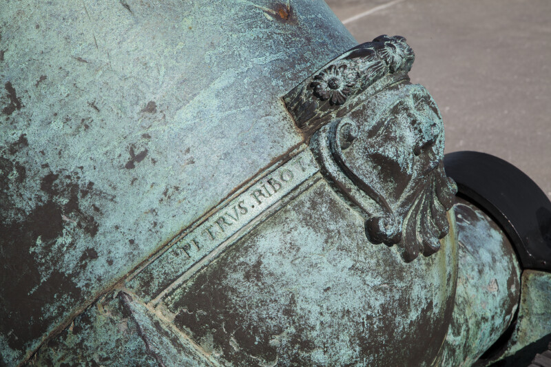 Close-Up view of the Bottom of an Oxidized, Bronze, 15-Inch Mortar