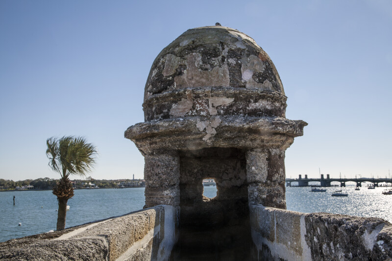 Close-Up View of the Turret on the Southeast Bastion of Castillo de San Marcos