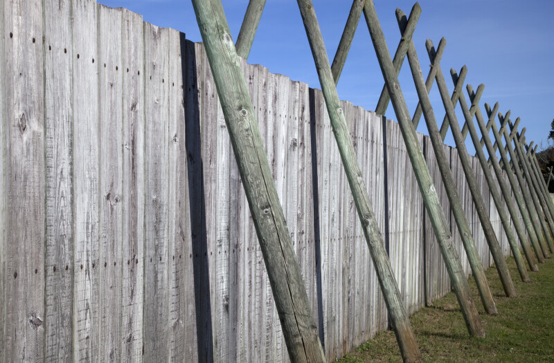 Close-Up View of the Wooden walls Surrounding the Reconstructed Fort Caroline