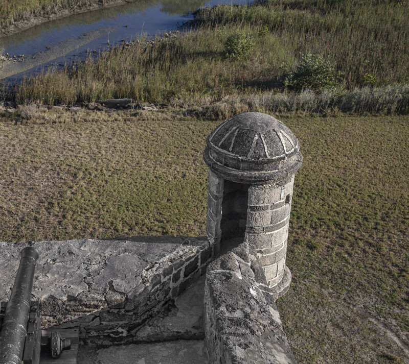 Closer View Looking Down onto a Sentry Box which Overlooks the Matanzas Inlet, with Cannon