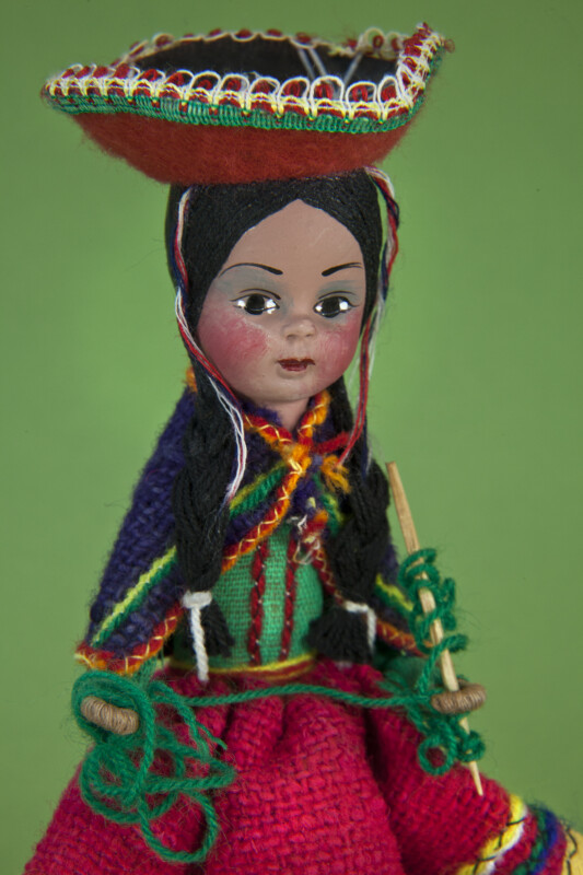 Colombia Female Figure with Knitting Needles and Sombrero (Three Quarter Length)