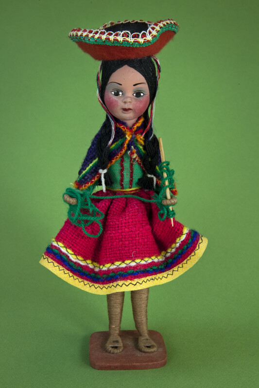 Colombia Figure of Girl with Knitting Needle and Sombrero (Full View)
