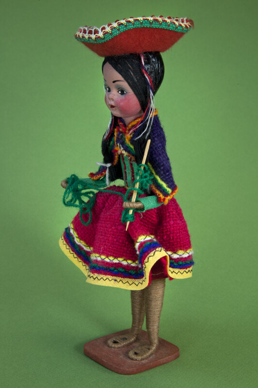 Colombia Handcrafted Female Figure with Wool Shawl and Skirt (Three Quarter View)