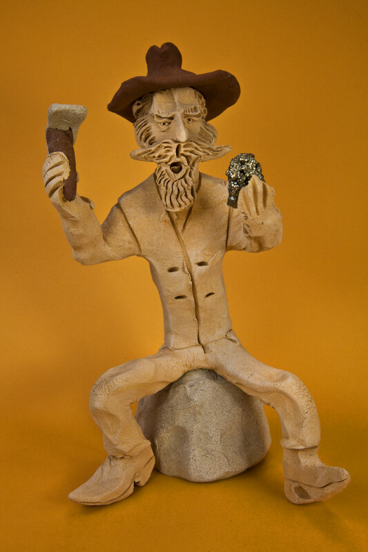 Colorado Handcrafted Clay Miner (Full View Orange Background)