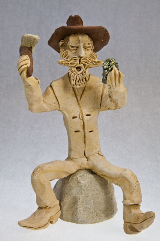 Colorado Miner Made with Rough Clay (Full View Blue Background)