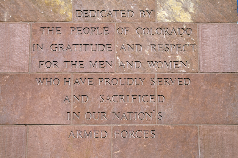Colorado Veteran's Monument Inscription