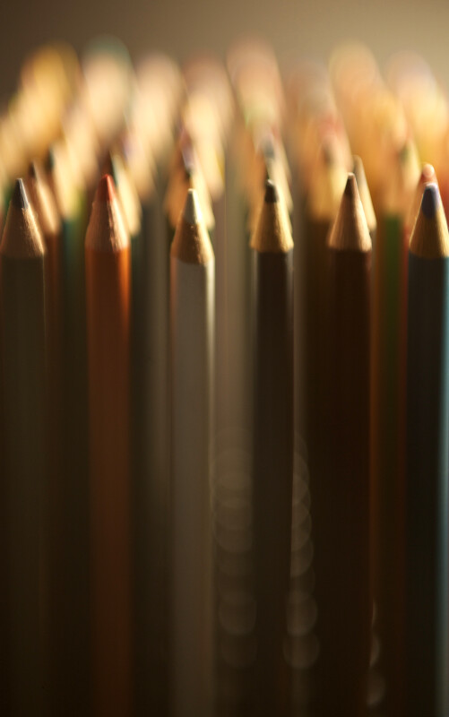 Colored Pencils with Blurred Background