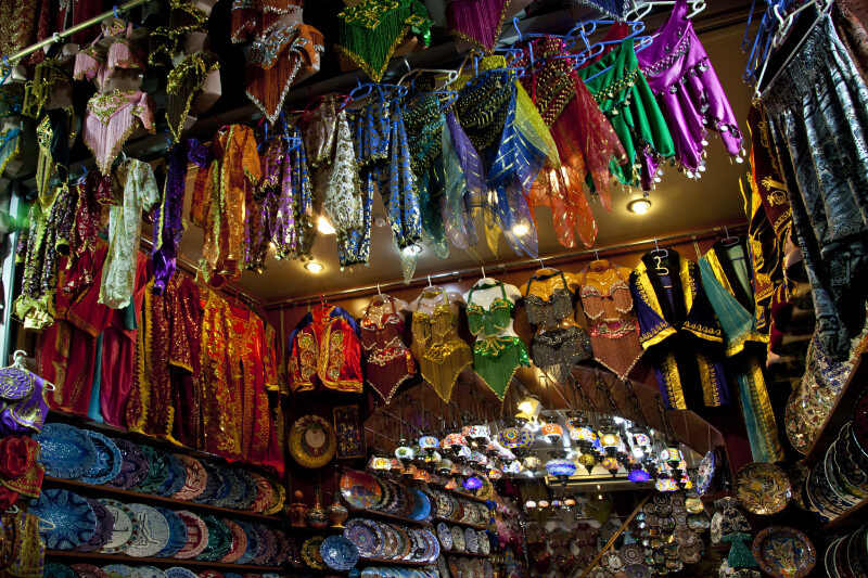 Colorful Clothing, Dishes, and Light Fixtures at the Spice Bazaar in Istanbul, Turkey