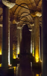 Columns at the Dimly-Lit Basilica Cistern