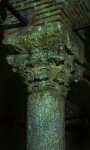 Columns Covered in Specs of Green Algae at The at the Basilica Cistern