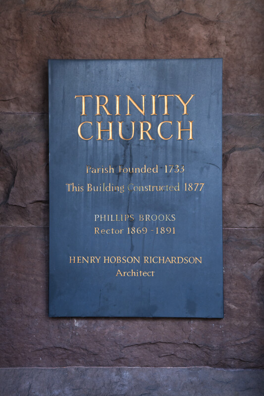 Commemorative Plaque at Trinity Church