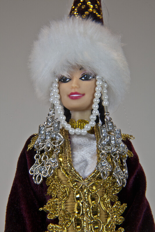 Cone-Shaped Hat with Fur and Beads on Princess Doll (Close Up)