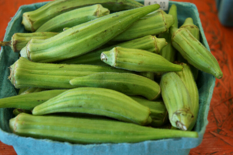 Container Full of Fancy Okra