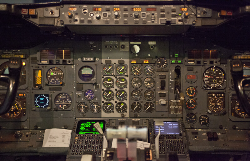 Control Panel in an Airplane Cockpit