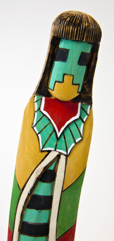 Corn Hopi Kachina Wood Carving of Man in Multi-Colored Blanket (Single View)
