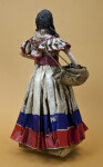 Costa Rica Lady Figurine with Long Dress, Bag with Coffee Beans, and Walking Stick (Back View)