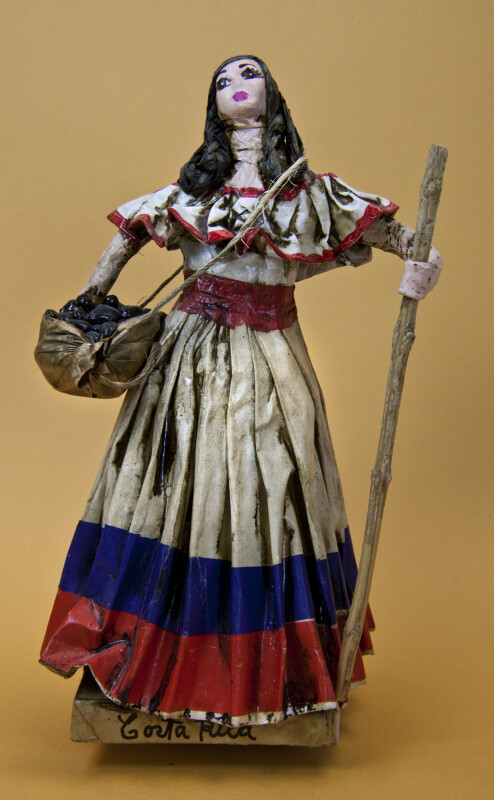 Costa Rica Woman Made with Paper Mache Carrying a Sack of Coffee Beans (Full View)