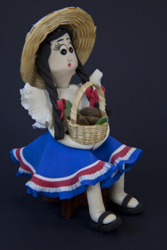 Costa Rica -  Young Girl with Straw Basket (Three-Quarter View)