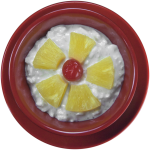 Cottage Cheese in a Small Red Bowl