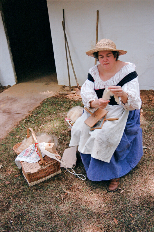 Carding Wool at Mission San Luis