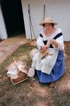 Carding Wool at Mission San Luis