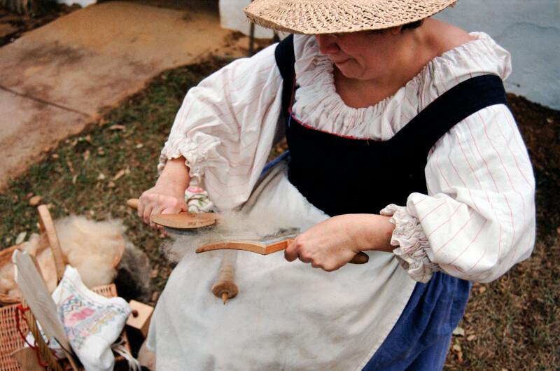 Demonstrating Hand Carding