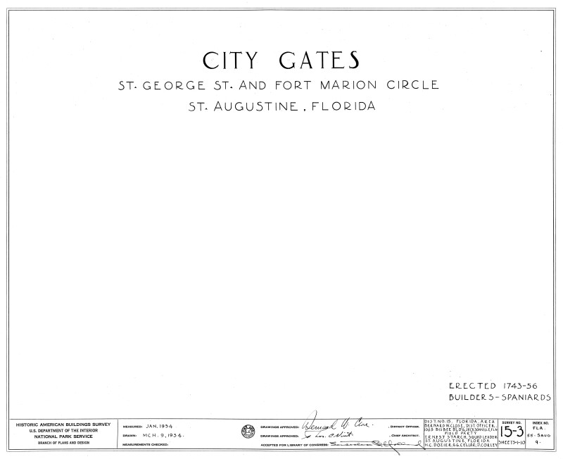 Cover Sheet for Old City Gates Drawings
