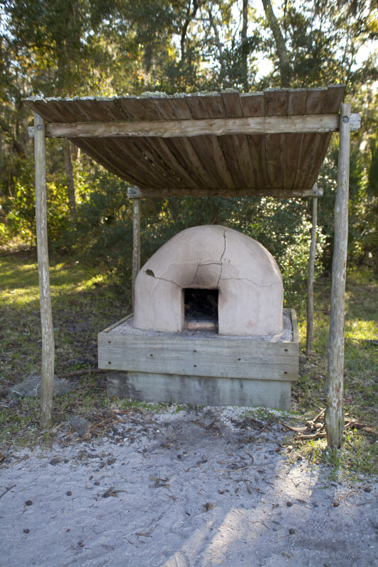 Cracked Oven Under a Wooden Structure at the Fort Caroline National Memorial