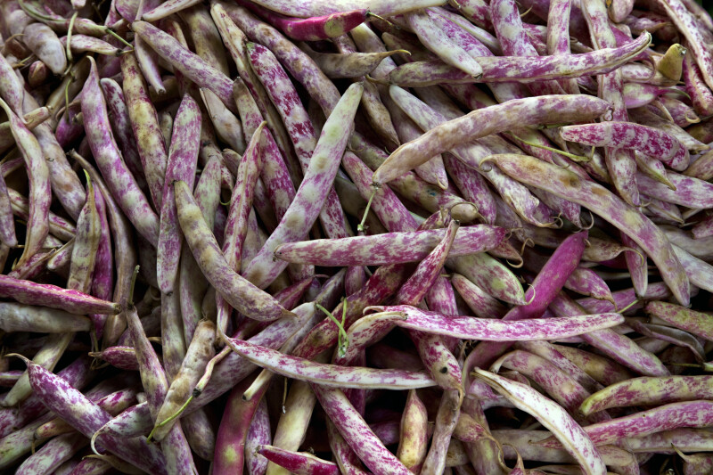 Cranberry Beans On Display at an Outdoor Market in Kusadasi