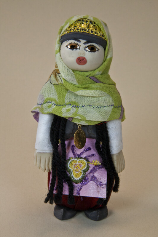 Croatia Doll Made with Ceramic Wearing Clothes Made from Fabric (Full View)