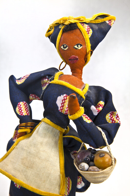 Cuba Cloth and Wire Doll with Hoop Earrings and Head Scarf (Close Up)