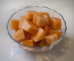 Cubed Cantaloupe in a Glass Bowl