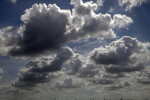 Cumulus Clouds with Grey and White Hues