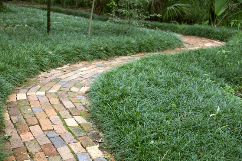 Curved Brick Path at the Kanapaha Botanical Gardens