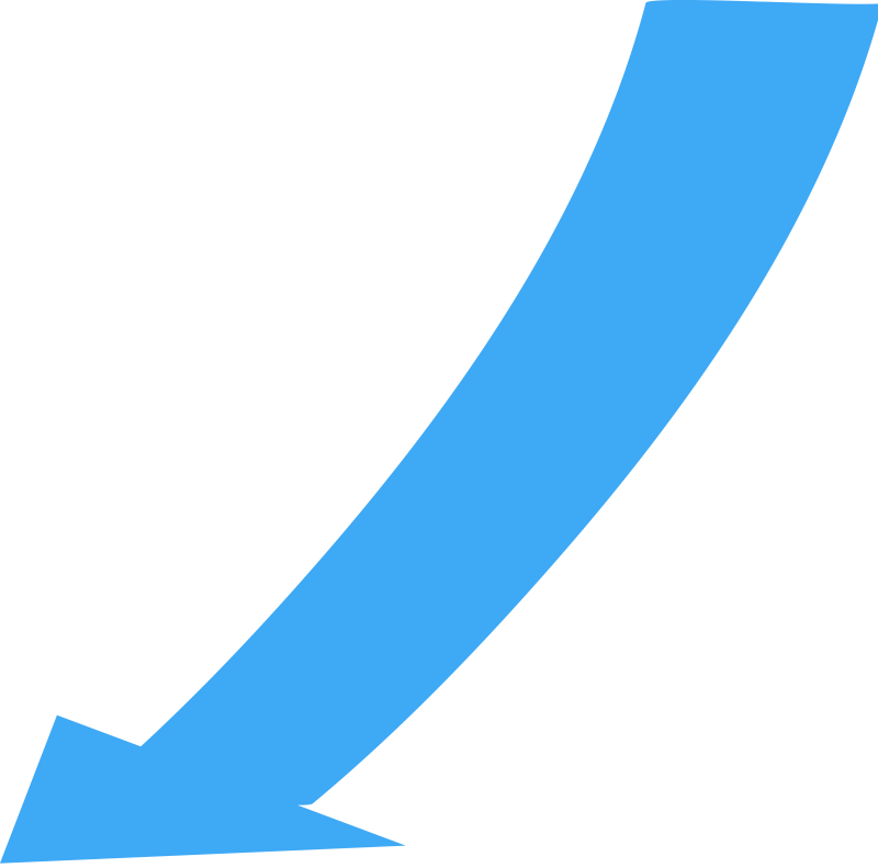 Curved, Narrow Directional Arrow Pointing to the Lower Left