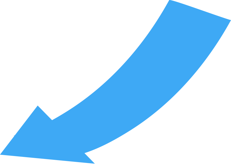 Curved, Wide Directional Arrow Pointing to the Lower Left