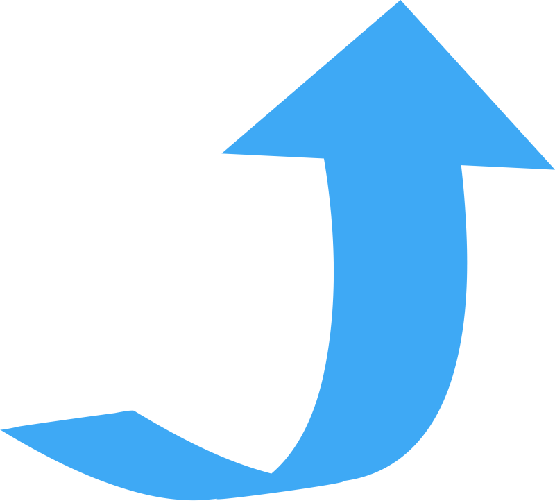 Curved, Wide Directional Arrow Pointing Up