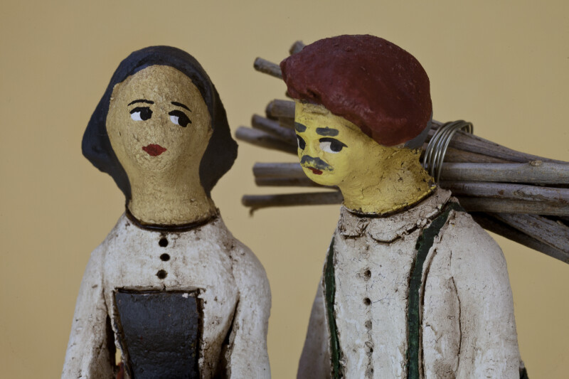 Cyprus Ceramic Man and Woman With Hand Painted Faces (Close Up)