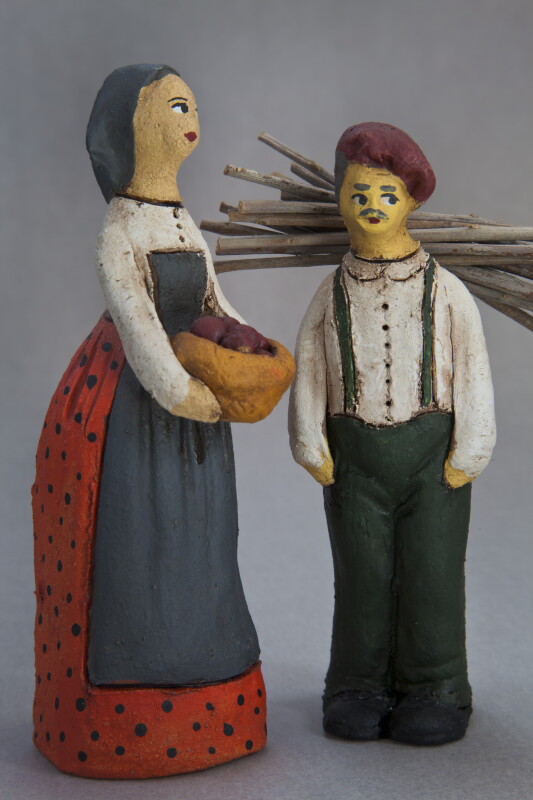 Cyprus Man and Woman Dolls Handcrafted from Ceramics  (Full View)
