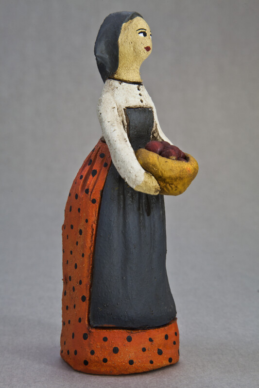Cyprus Woman Doll Hand Painted Ceramic Lady with Head Scarf and Long Skirt (Three Quarter View)