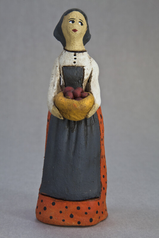 Cyprus Woman Doll Made from Ceramics Holding a Basket of Fruits and Vegetables (Full View)