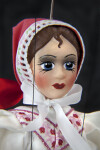 Czech Republic Ceramic Doll with Hand Painted Face and Traditional Cap (Close Up)