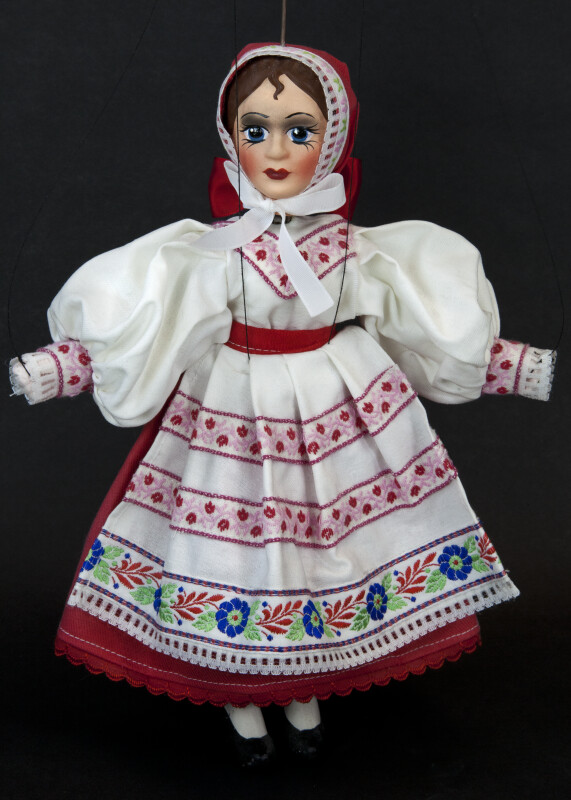 Czech Republic Female Marionette Wearing Traditional Costume (Full View)