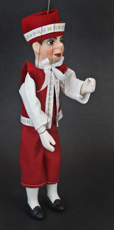Czech Republic Handcrafted Marionette With Ceramic Head and Wooden Body (Three Quarter View)