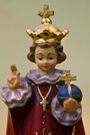 Czech Republic Infant of Prague Holding Hand Painted Wood Statue (Close Up)