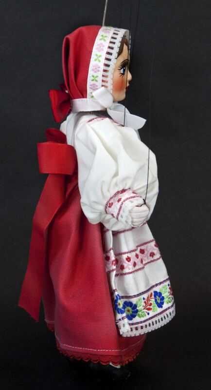 Czech Republic  Marionette with Strings Wearing Traditional Dress and Cap (Profile View)