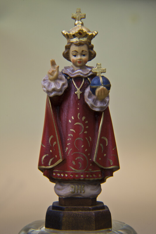 Czech Republic Small Wood Carving of Infant Jesus of Prague Holding a Cross on a Sphere (Full View)