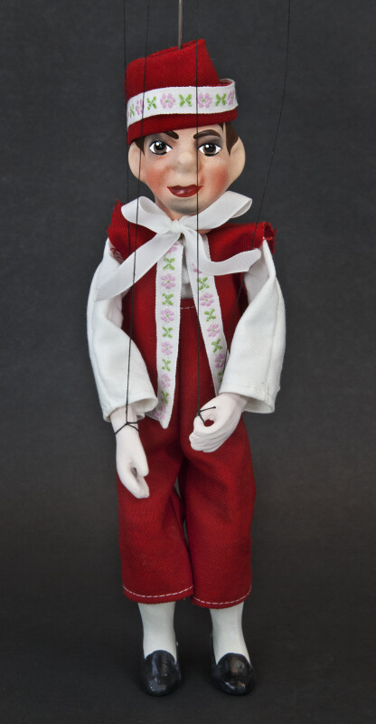 Czech Republic String Marionette Made from Wood and Ceramics Wearing Red Vest and Hat (Full View)
