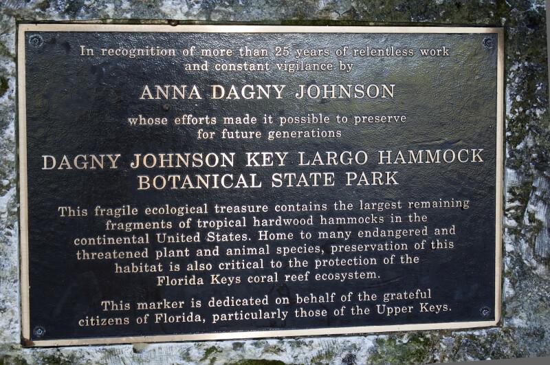 Dagny Johnson Key Largo Hammock Botanical State Park Marker